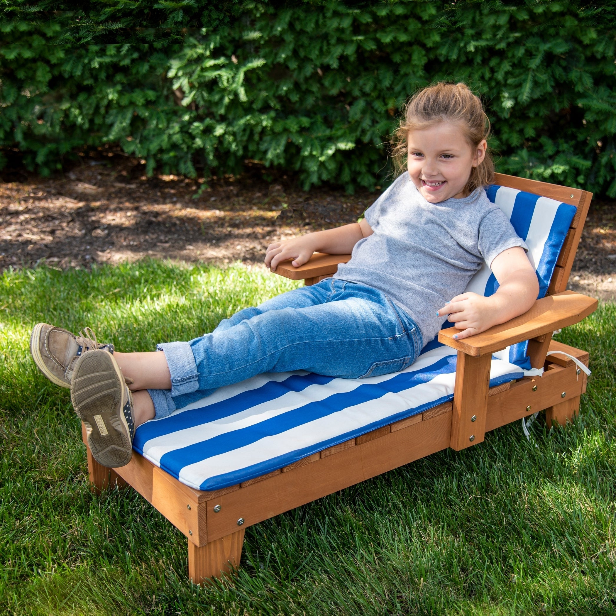 2020 Homeware Kid's Wood Blue And White Cushion Outdoor Chaise Lounge Chair Pertaining To Wood Blue And White Cushion Outdoor Chaise Lounge Chairs (View 3 of 25)
