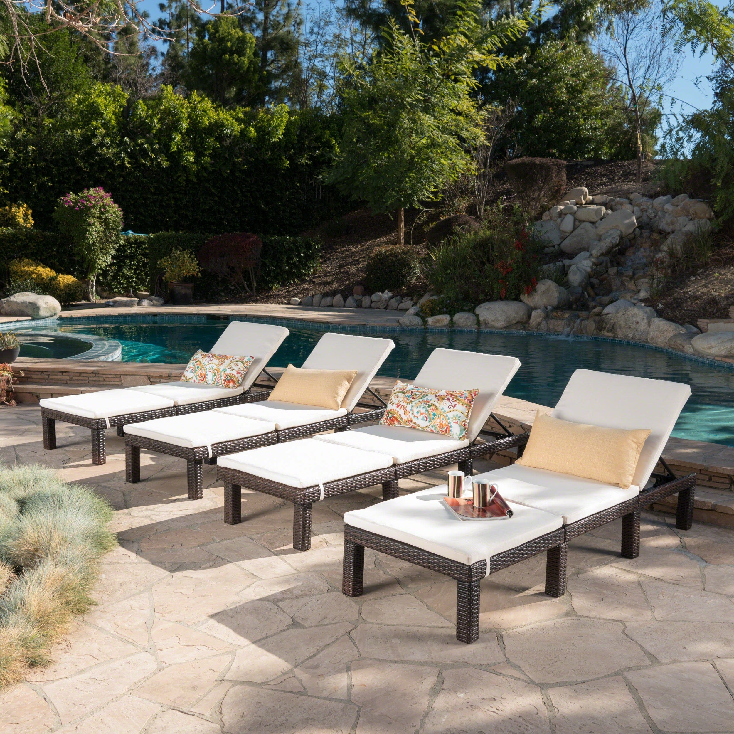 2020 Jamaica Outdoor Chaise Lounges With Regard To Jamaica Outdoor Wicker Chaise Lounge With Cushion (Set Of 4)Christopher  Knight Home (View 3 of 25)