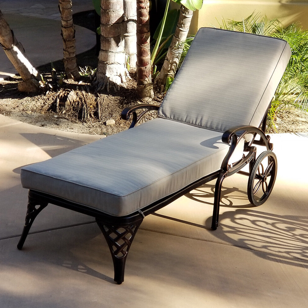 2020 Lattice Outdoor Patio Pool Chaise Lounges With Wheels And Cushion For One Allium Way Timothy Reclining Chaise Lounge With Cushion (View 14 of 25)