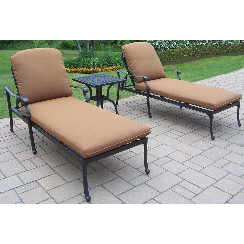 2020 Oakland Living Hampton 3 Piece Patio Chaise Lounge Set With Sunbrella Cushions Intended For 3 Piece Patio Lounger Sets (Gallery 17 of 25)