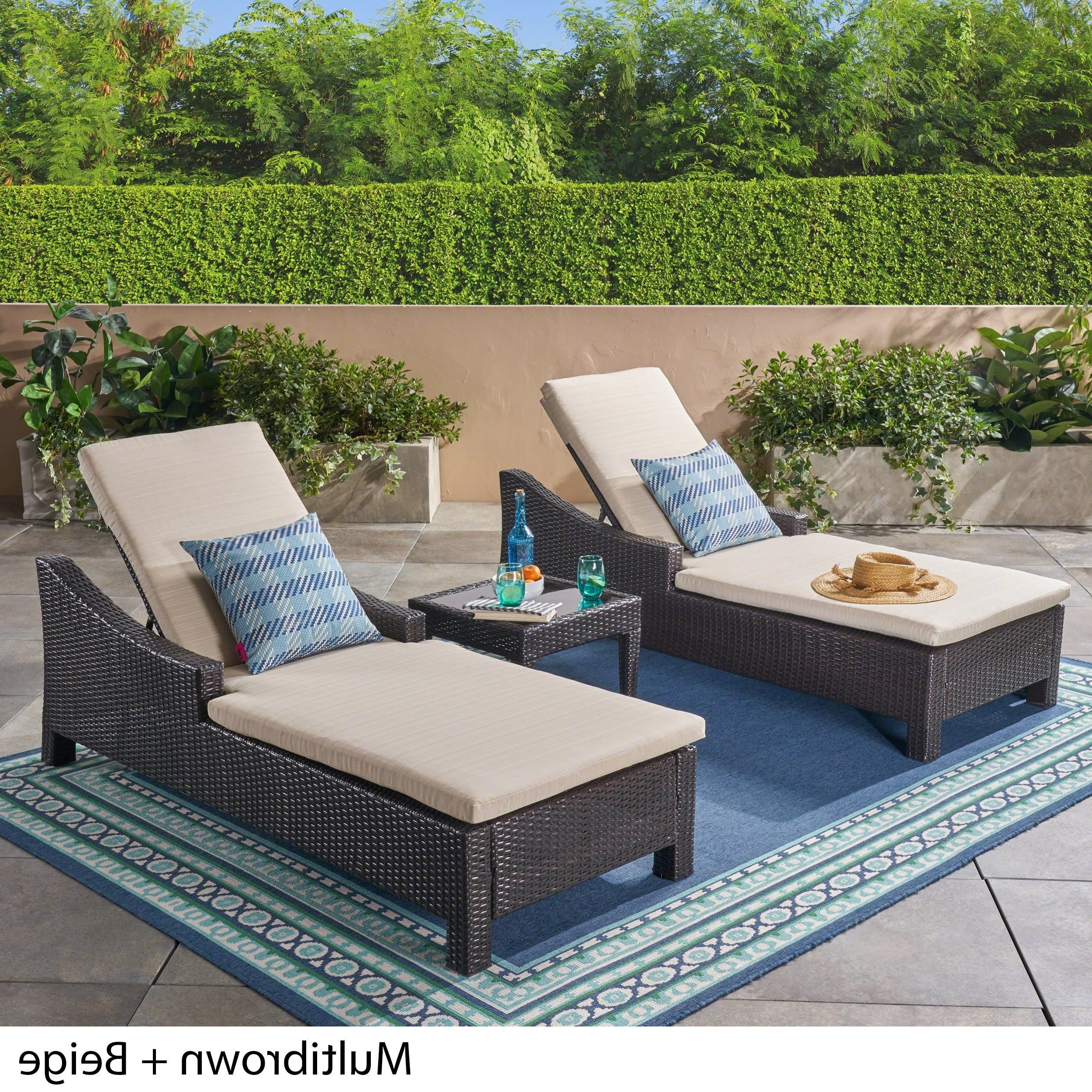 Featured Photo of Outdoor 3 Piece Wicker Chaise Lounges And Table Sets