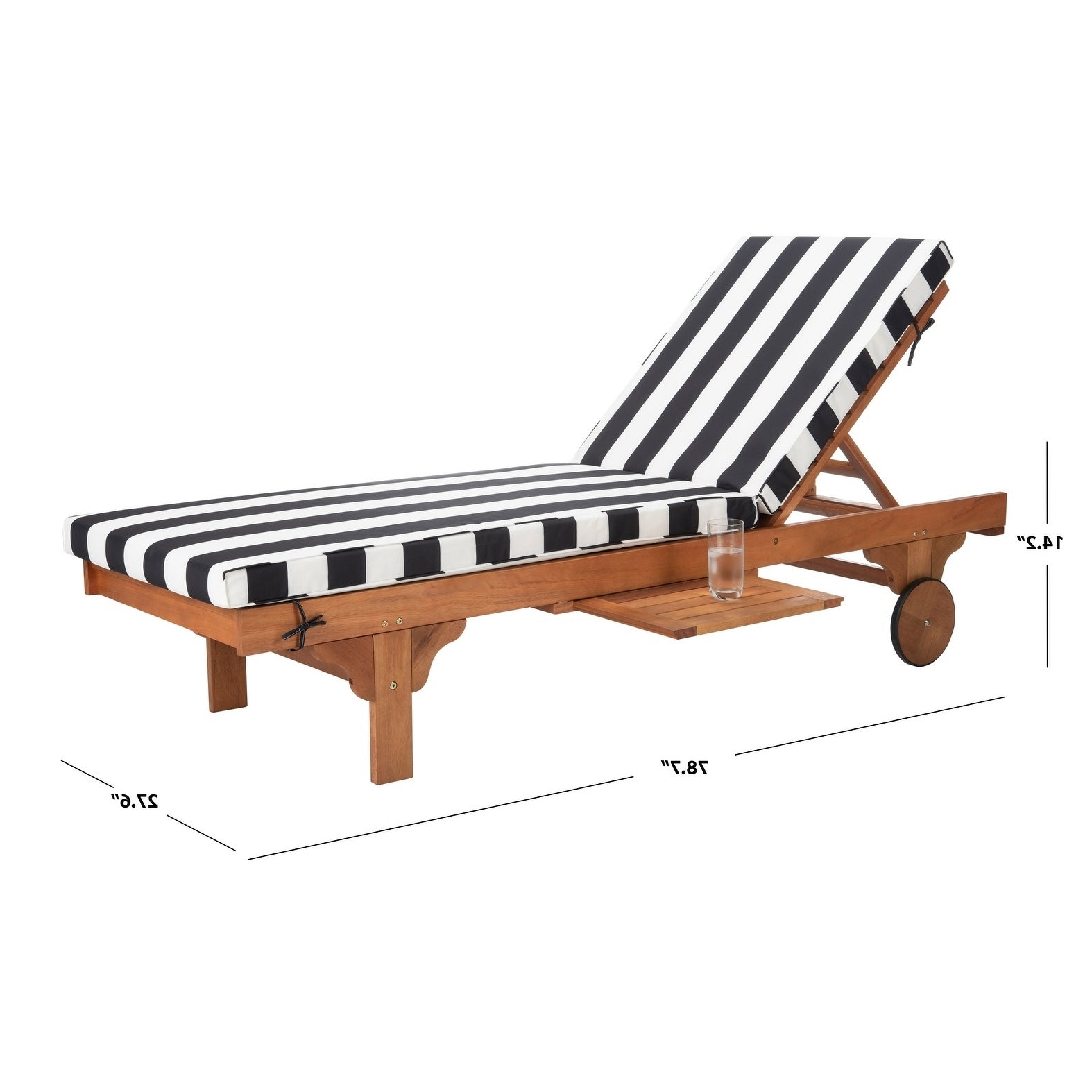 """2020 Outdoor Cart Wheel Adjustable Chaise Lounge Chairs Intended For Safavieh Outdoor Living Newport Ash Black/ White Stripe Cart Wheel  Adjustable Chaise Lounge Chair – 27.6"""" X 78.7"""" X  (View 2 of 25)"""