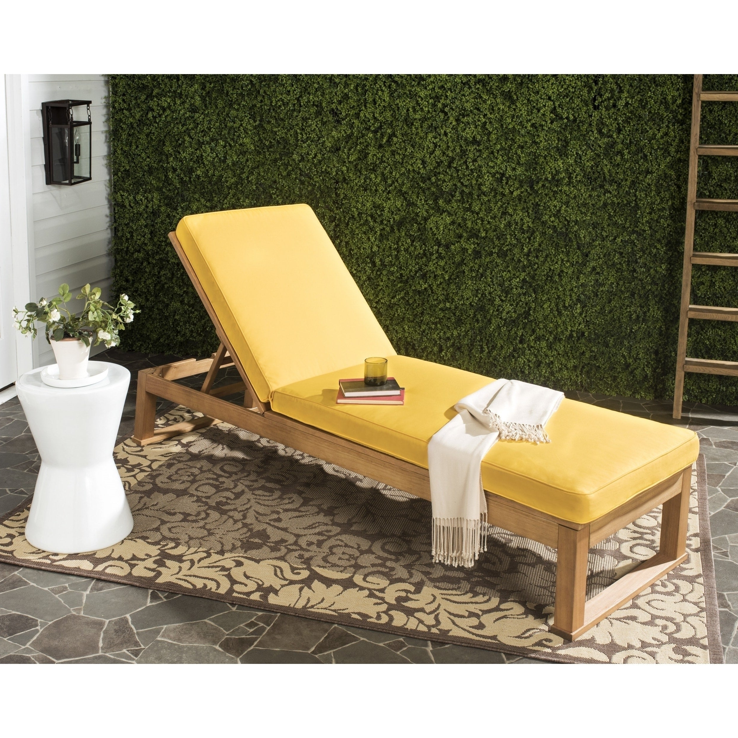 """2020 Outdoor Living Inglewood Brown Acacia Wood Beige Cushion Lounge Chairs For Safavieh Outdoor Living Solano Brown/ Yellow Sunlounger – 24.8"""" X 80.9"""" X   (View 4 of 25)"""