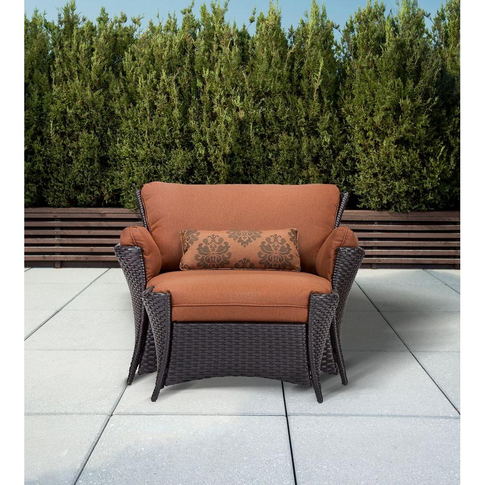 2020 Outdoor Patio Lounge Chairs With Ottoman Inside Hanover Strathmere Allure 2 Piece Patio Set With Oversized Armchair And Ottoman With Woodland Rust Cushions (Gallery 14 of 25)