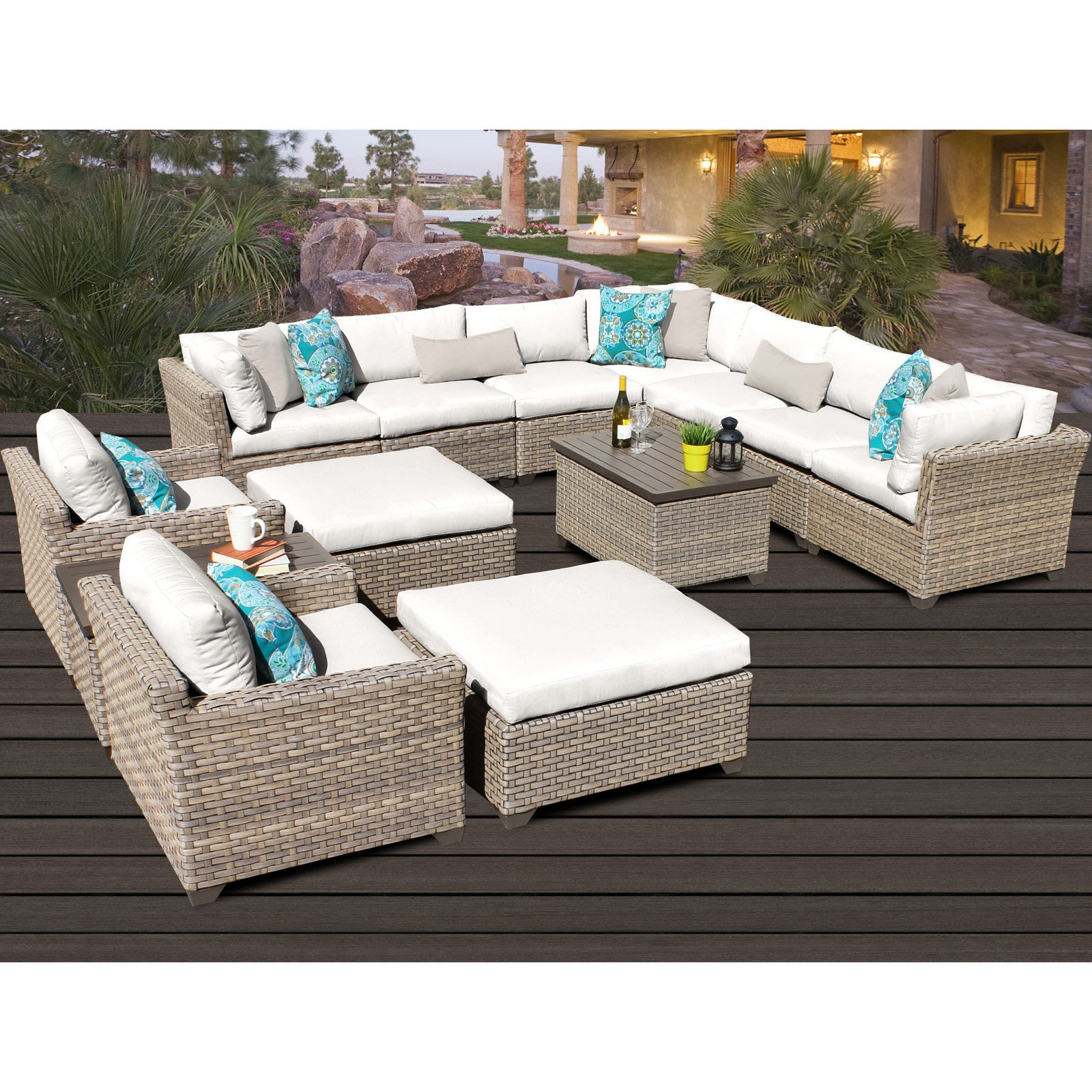 2020 Outdoor Tk Classics Monterey Wicker 13 Piece Patio Pertaining To Outdoor 13 Piece Wicker Patio Sets With Cushions (View 2 of 25)