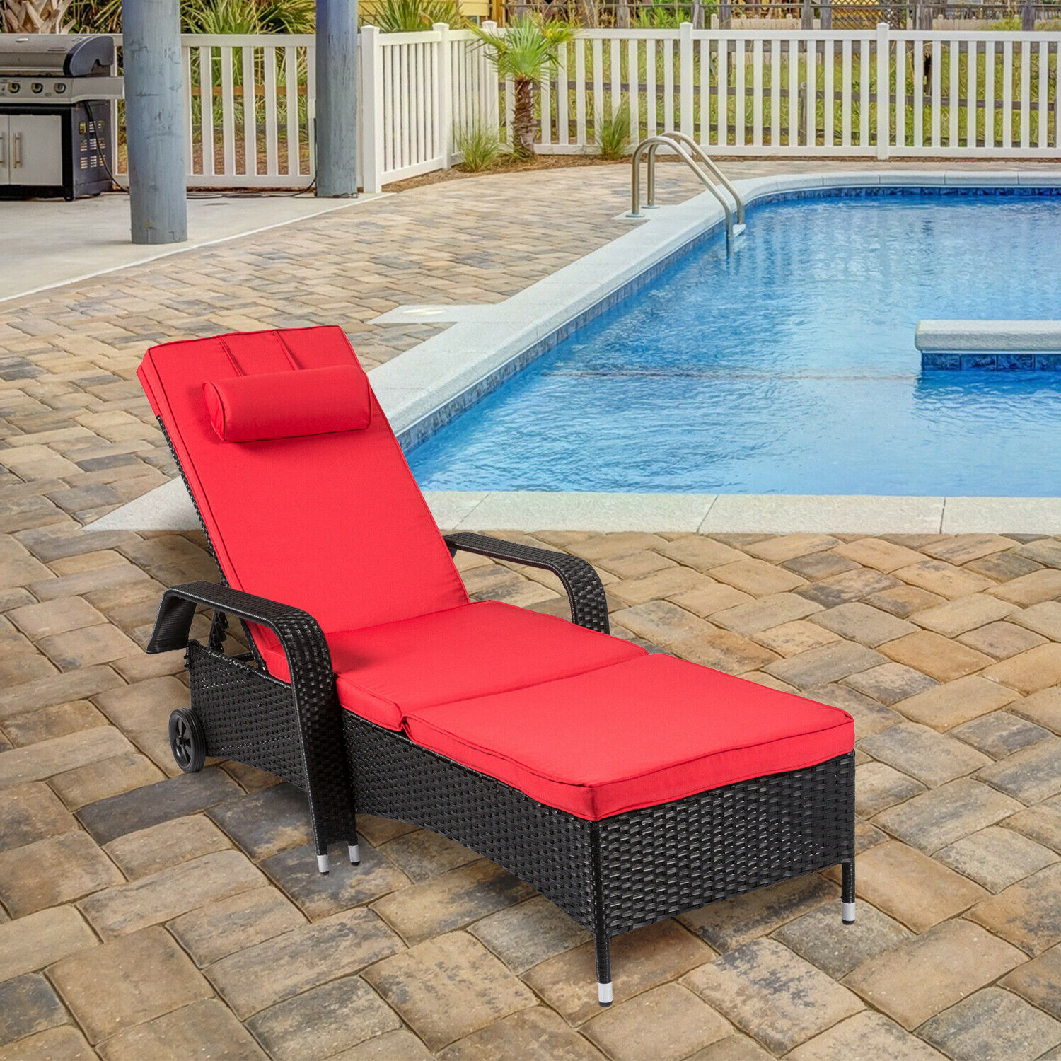 2020 Patio Rattan Wicker Chaise Lounge Recliner Adjustable Couch Chair Cushion  Wheels Throughout Outdoor Adjustable Rattan Wicker Chaise Pool Chairs With Cushions (View 7 of 25)