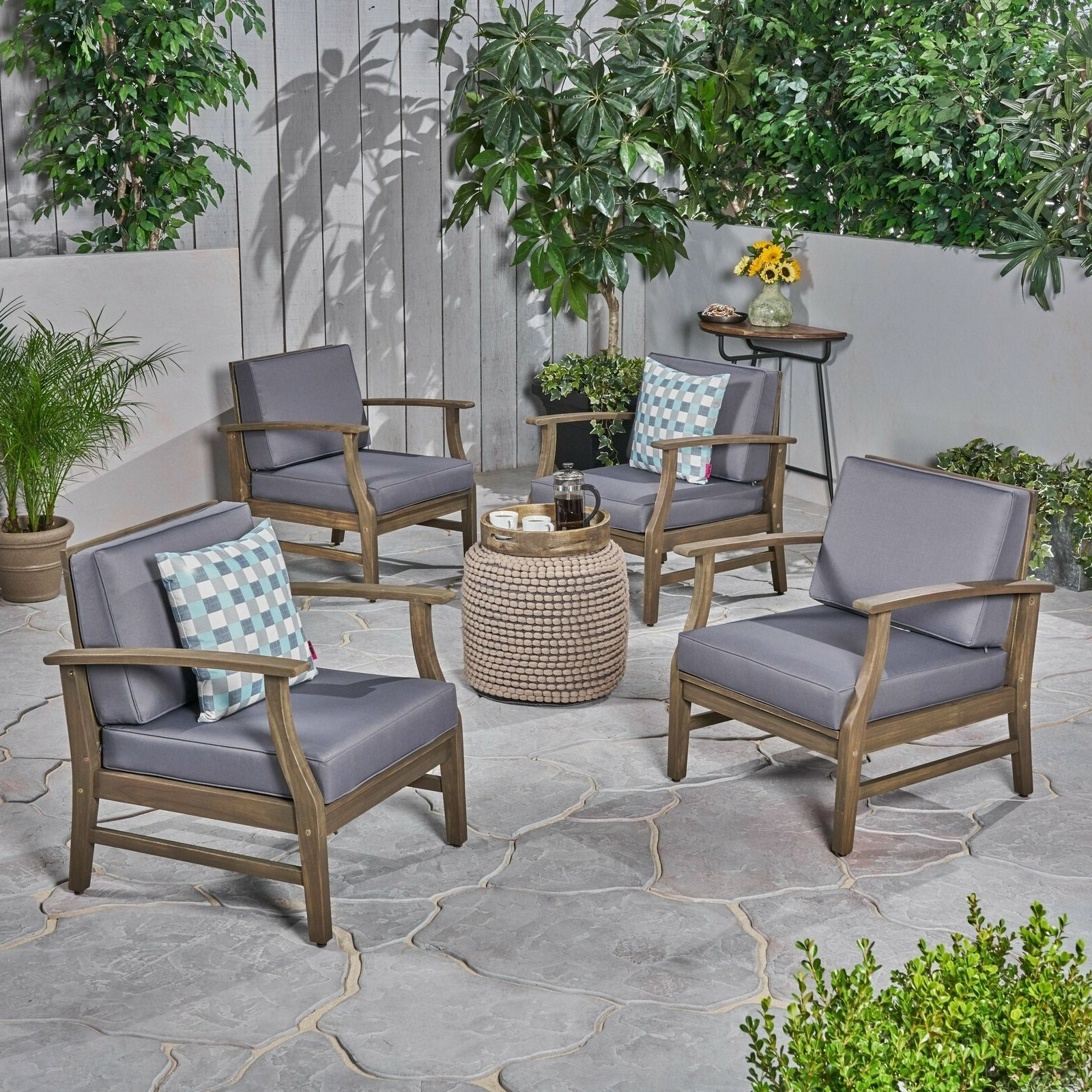2020 Perla Outdoor Acacia Wood Club Chair With Cushion (Set Of 4) Gray Finish +  Dark Inside Perla Outdoor Acacia Wood Chaise Lounge With Cushion (View 2 of 25)