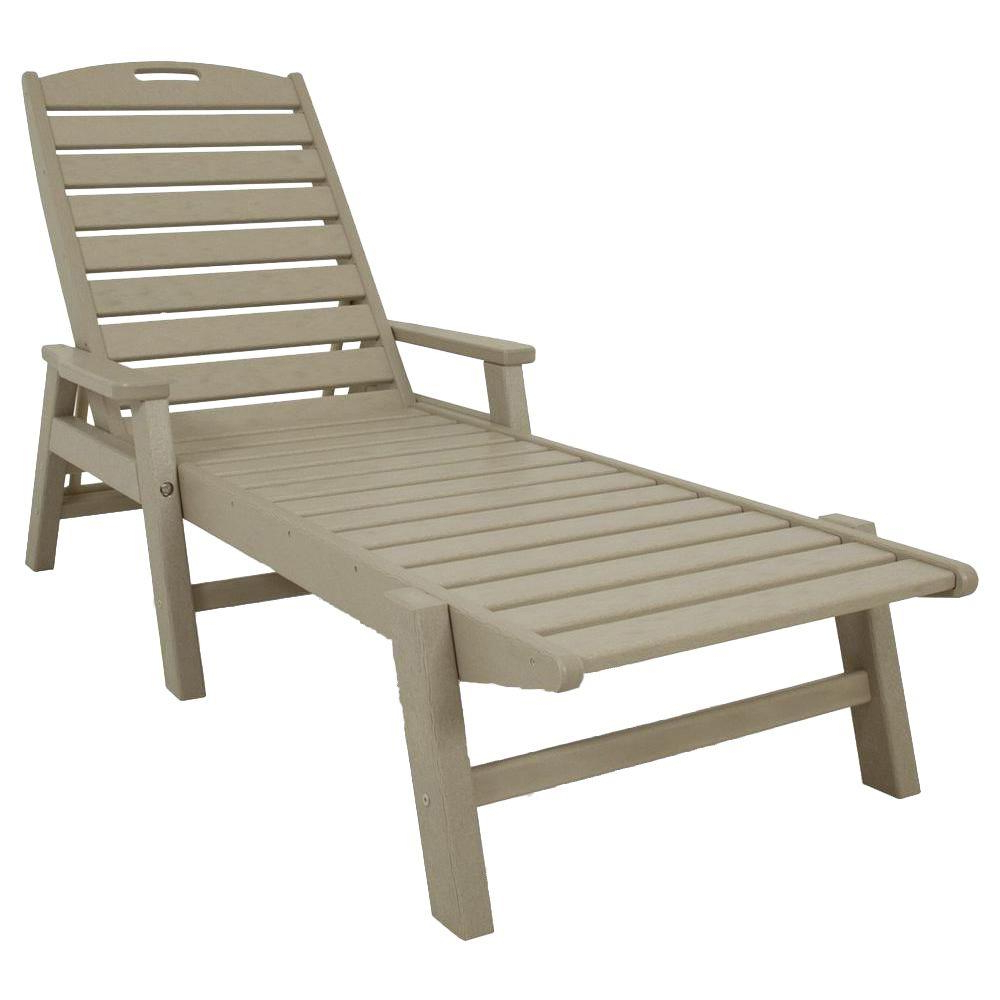 2020 Polywood Nautical Sand Stackable Plastic Outdoor Patio Chaise Lounge Throughout Nautical Outdoor Chaise Lounges With Arms (View 8 of 25)