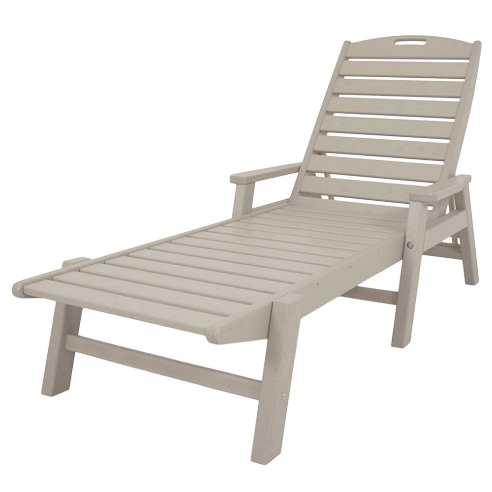 2020 Polywood Ncc2280Sa Sand Nautical Folding Adjustable Chaise With Arms For Stackable Nautical Outdoor Chaise Lounges (View 2 of 25)