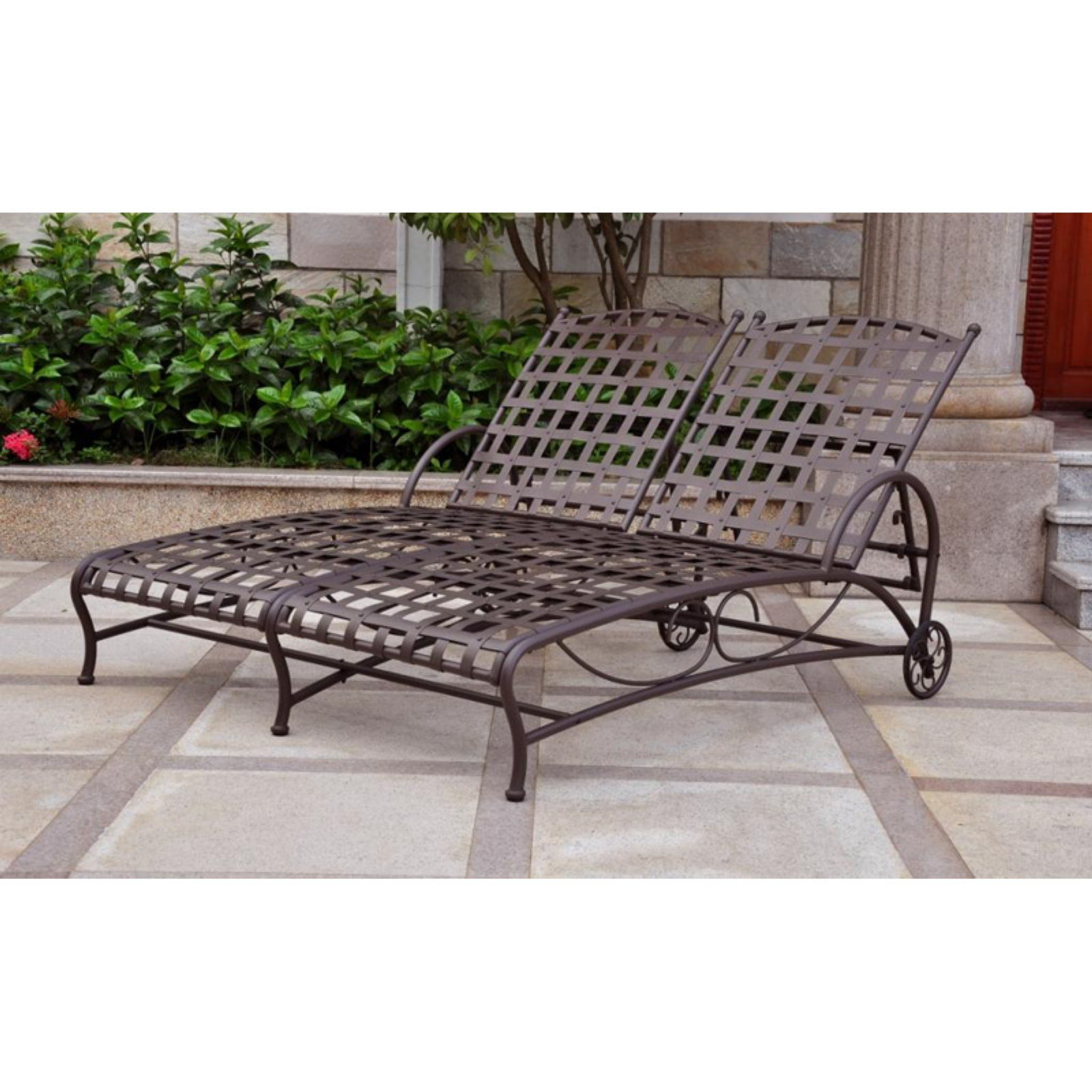 2020 Resin Wicker Multi Position Double Patio Chaise Lounges Intended For Outdoor International Caravan Santa Fe Iron Metal Double (View 5 of 25)