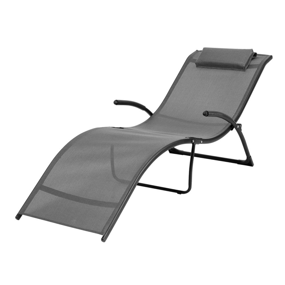 2020 Riverside Folding Reclined Patio Lounger In Black And Silver Grey Intended For Corliving Riverside Textured Loungers (Gallery 10 of 25)