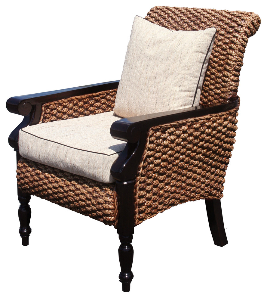 2020 Water Hyacinth Milan Woven Lazy Arm Chair With Modern Home Wailea Woven Rattan Loungers (Gallery 20 of 25)