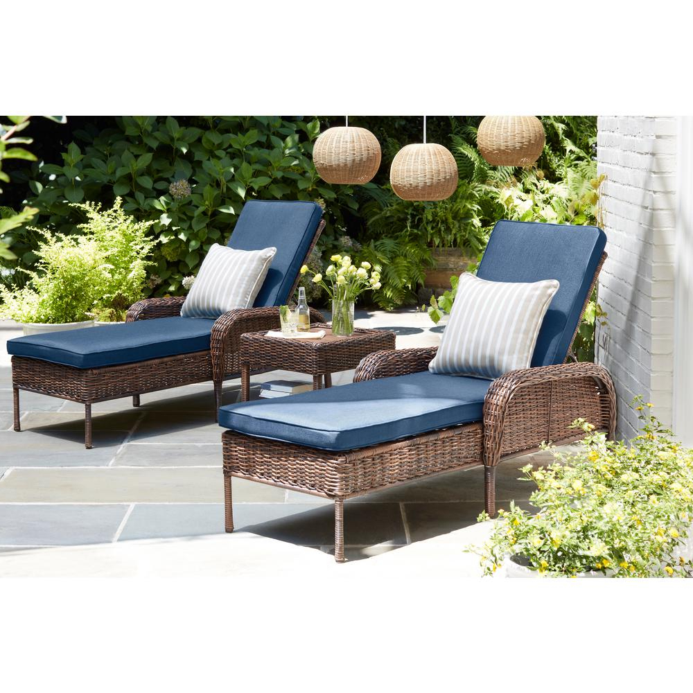 2020 White Wicker Adjustable Chaise Loungers With Cushions Within Hampton Bay Cambridge Brown Wicker Outdoor Patio Chaise Lounge With Standard Midnight Navy Blue Cushions (View 7 of 25)