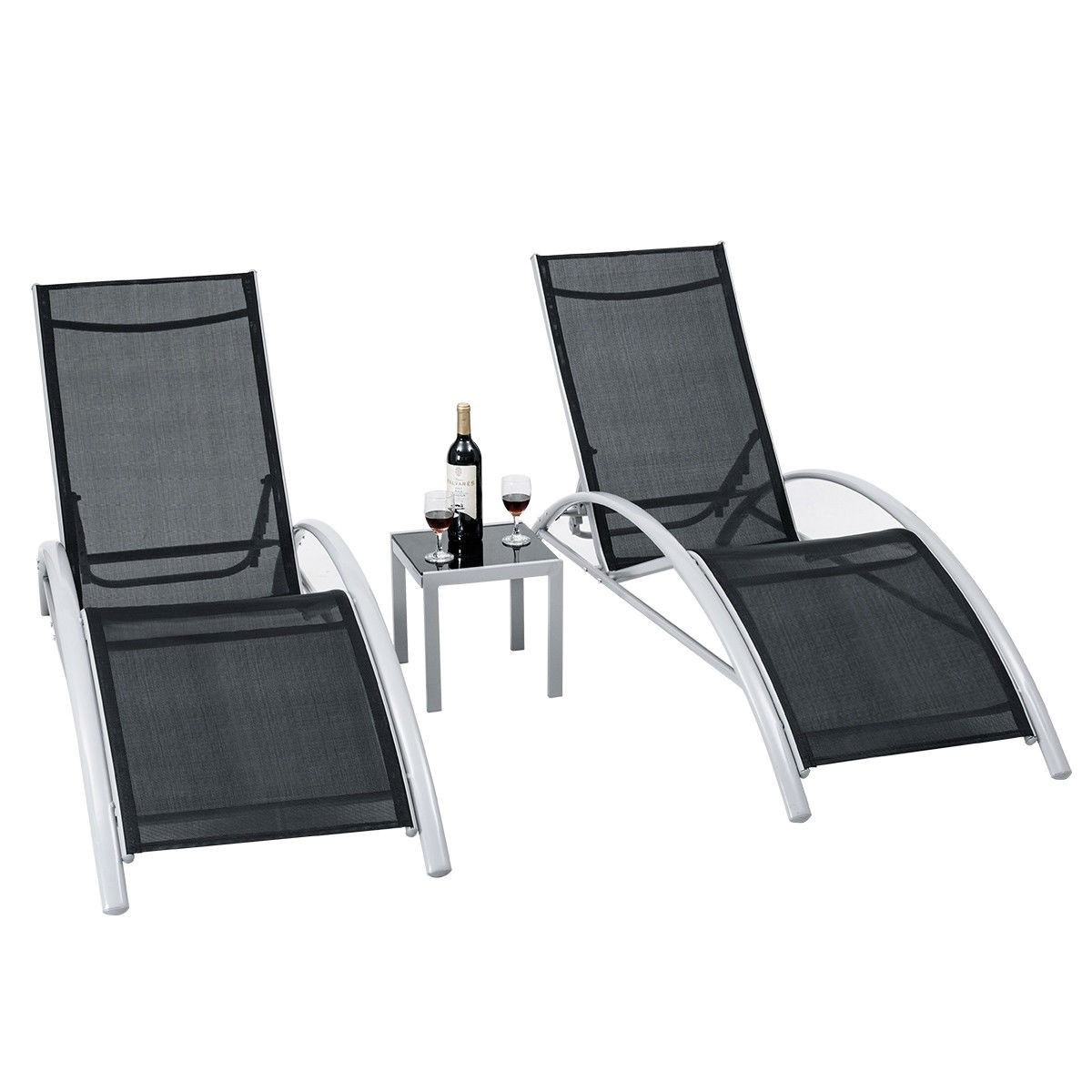 3 Piece Complete Black Outdoor Patio Pool Lounger Set Inside Recent Outdoor 3 Piece Chaise Lounger Sets With Table (Gallery 25 of 25)