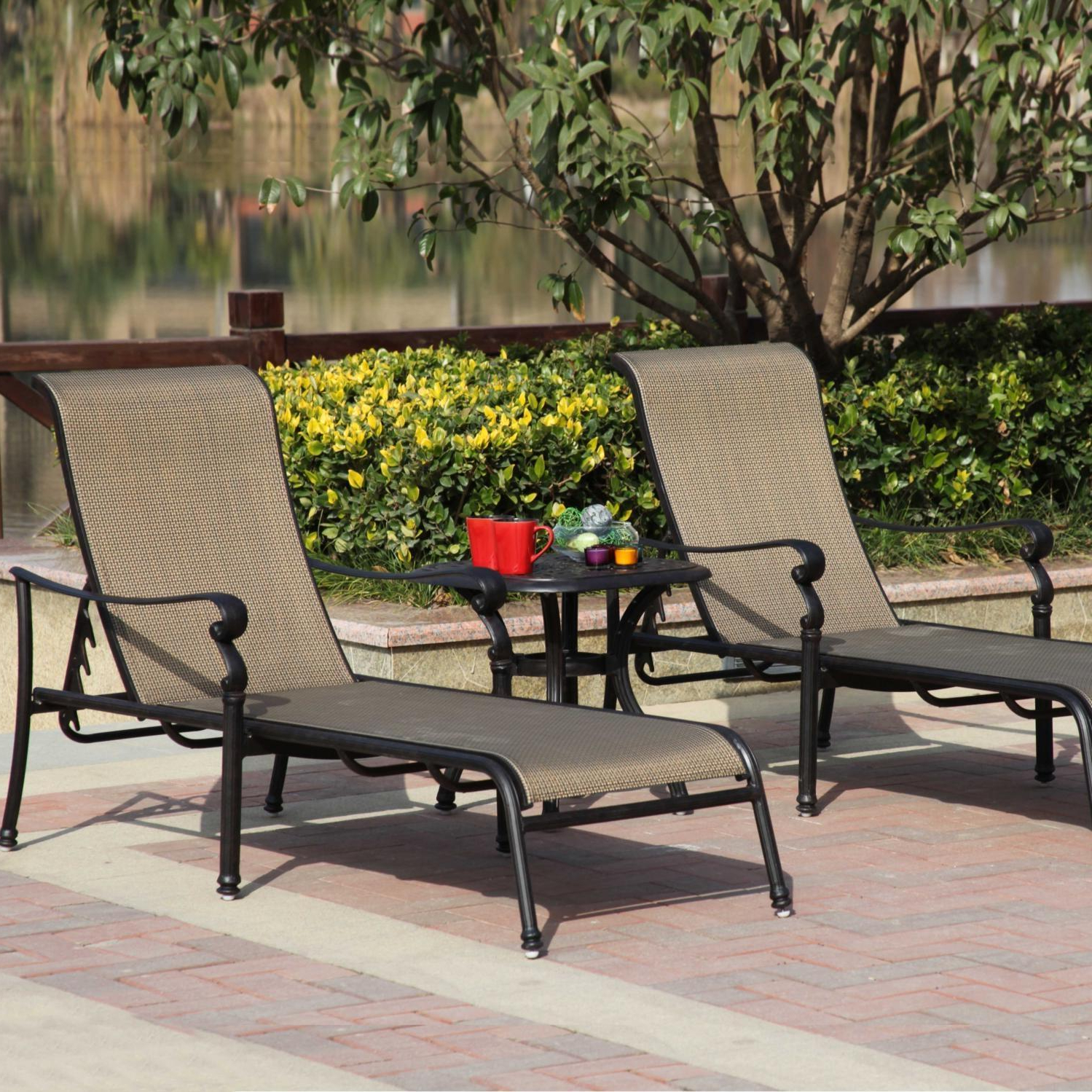 3 Piece Patio Lounger Sets Intended For Most Current Darlee Monterey 3 Piece Sling Patio Chaise Lounge Set (View 10 of 25)