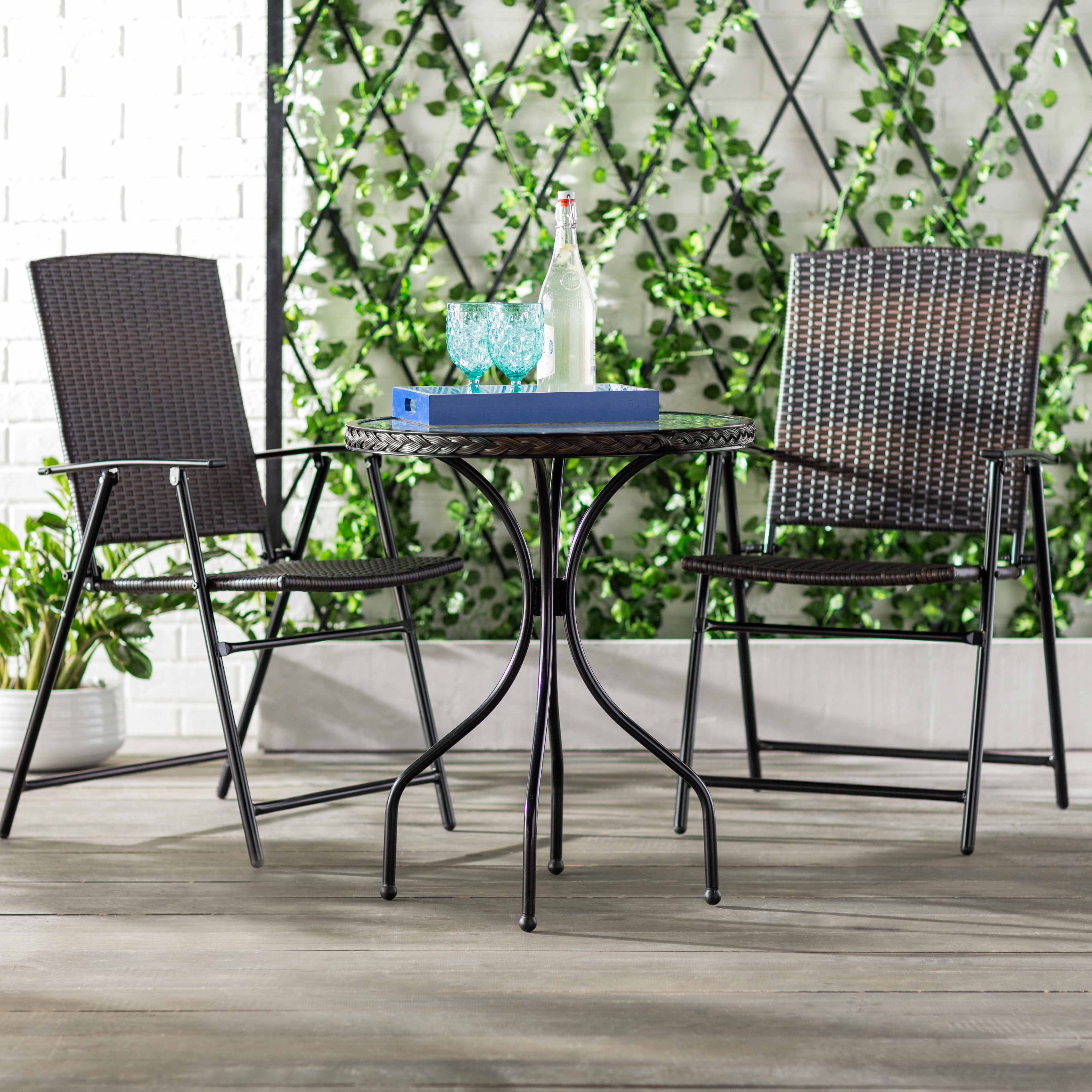 3 Piece Patio Lounger Sets Throughout Widely Used Gretchen Patio Wicker 3 Piece Bistro Set (View 7 of 25)