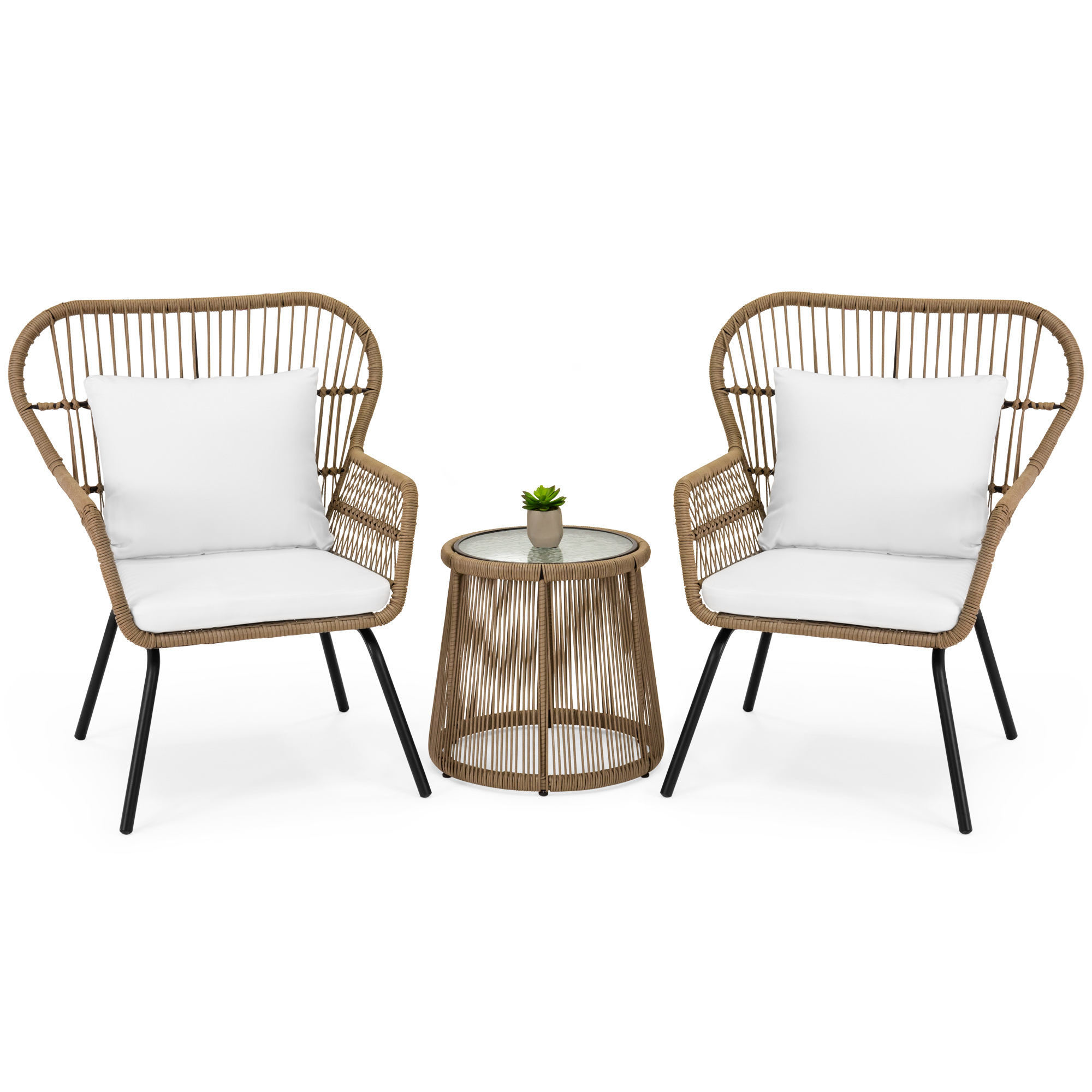 3 Piece Patio Lounger Sets Within Well Known Best Choice Products 3 Piece Patio Wicker Conversation Bistro Set W/ 2 Chairs, Glass Top Side Table, Cushions – Tan (View 19 of 25)