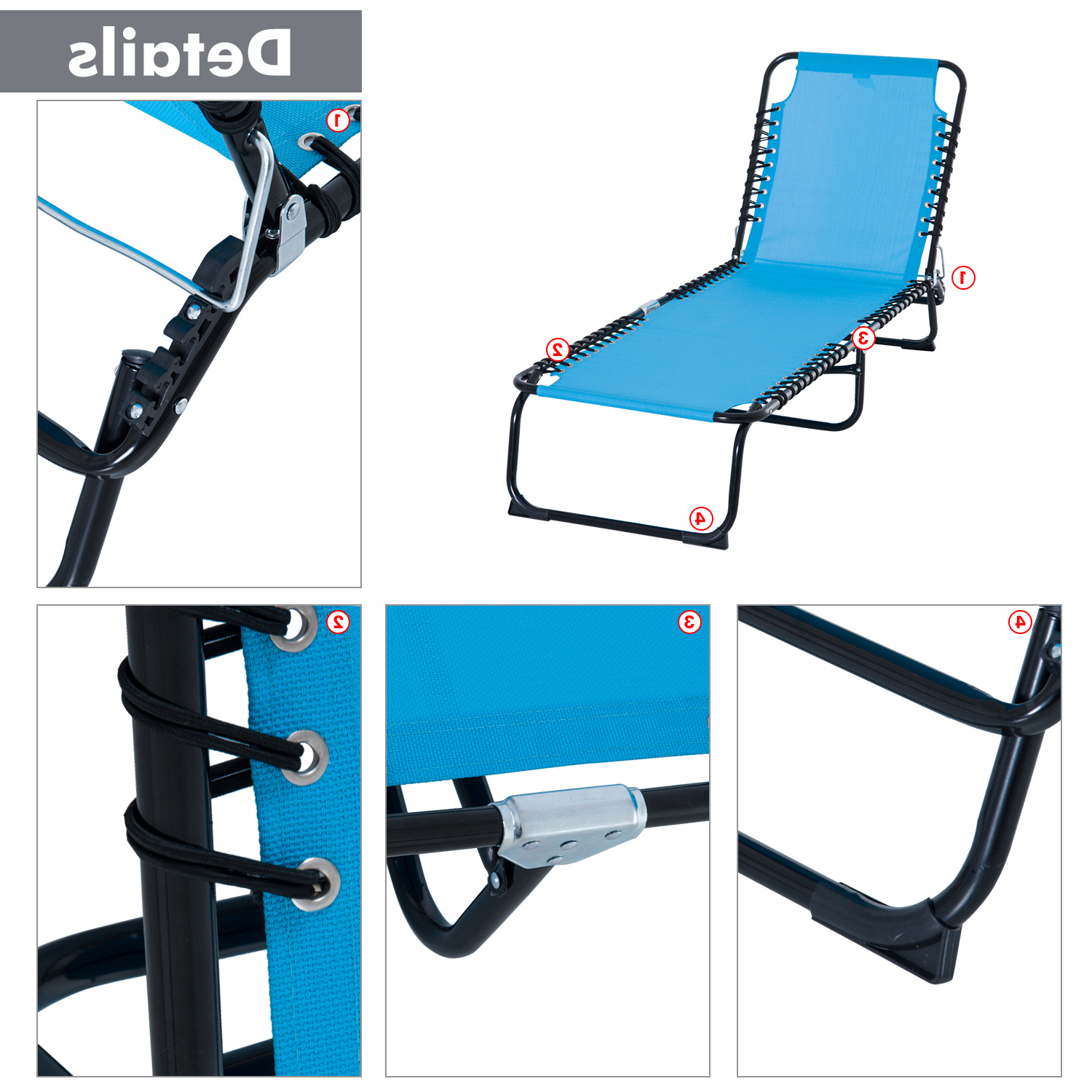 3 Position Portable Folding Reclining Beach Chaise Lounges Regarding Latest Outsunny Portable 3 Position Reclining Folding Beach Chaise Lounge Chair (Gallery 12 of 25)