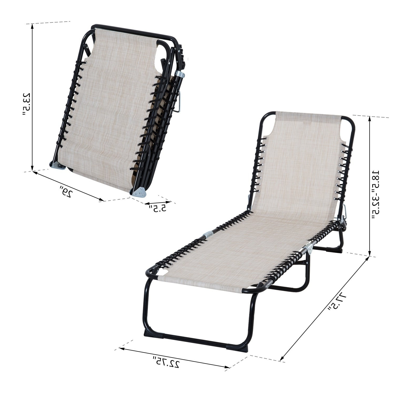 3 Position Portable Folding Reclining Beach Chaise Lounges Throughout Most Recent Outsunny 3 Position Portable Reclining Beach Chaise Lounge Folding Chair Outdoor Patio – Cream White (View 8 of 25)