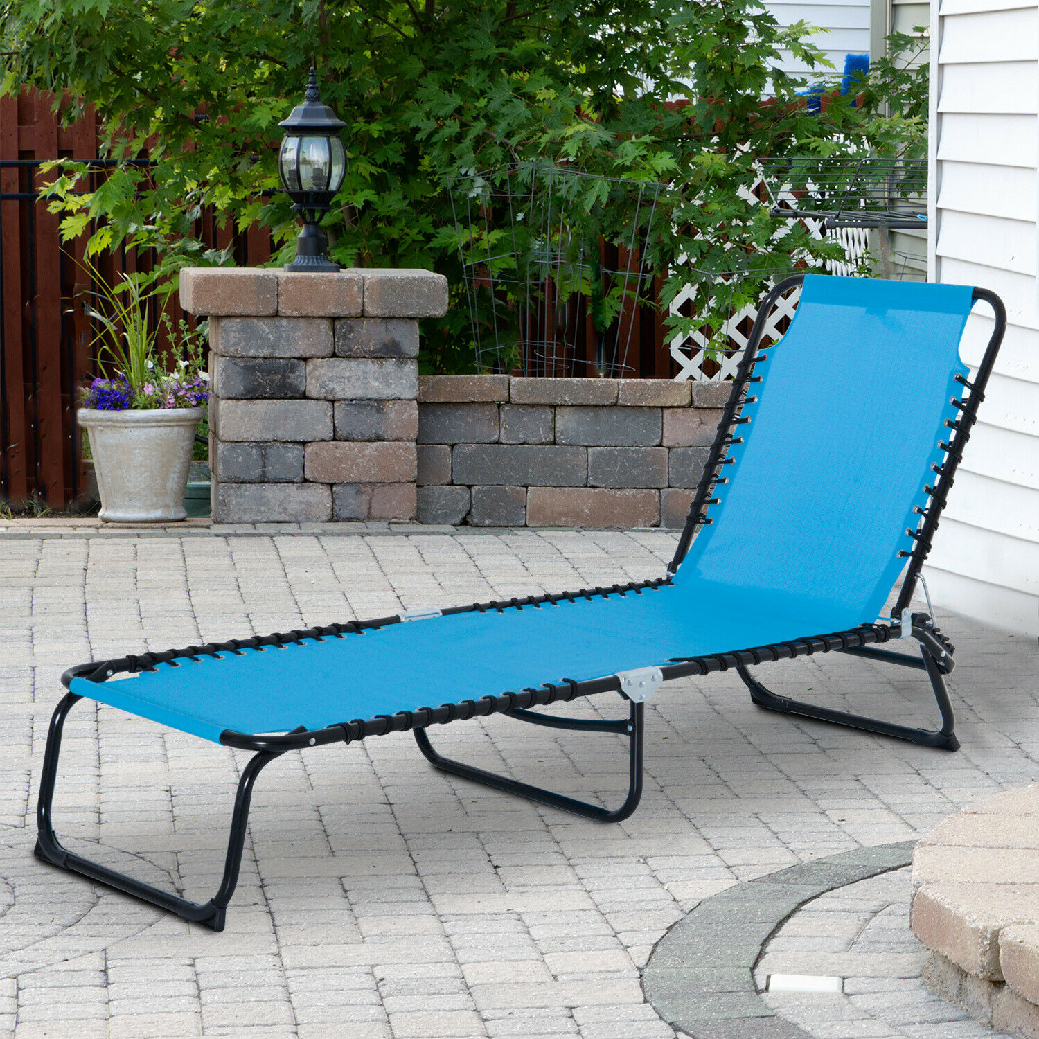 3 Position Portable Reclining Beach Chaise Lounge Adjustable Sleeping Light Blue Intended For Well Liked 3 Position Portable Folding Reclining Beach Chaise Lounges (View 5 of 25)