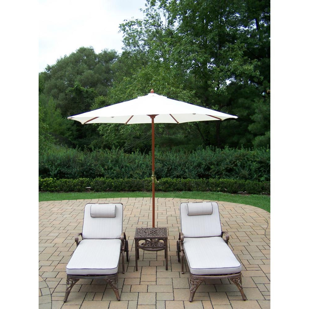 5 Piece Cast Aluminum Outdoor Chaise Lounge Set With Tan Cushions And White Umbrella With Trendy Striped Outdoor Chaises With Umbrella (View 15 of 25)