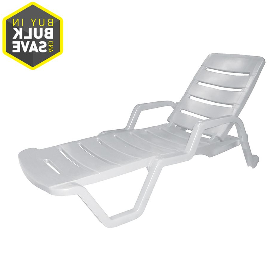 Adams Mfg Corp White Resin Stackable Patio Chaise Lounge With Regard To Fashionable Nautical Wheeled Stackable Chaise Lounges (View 17 of 25)