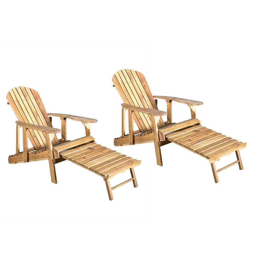 Adirondack Chairs With Footrest In Popular Noble House Oakley Natural Stained Reclining Wood Adirondack Chair With  Footrest (2  Pack) (View 4 of 25)