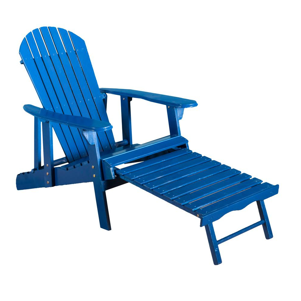 Adirondack Chairs With Footrest With Best And Newest Noble House Oakley Blue Reclining Wood Adirondack Chair With Footrest (View 7 of 25)