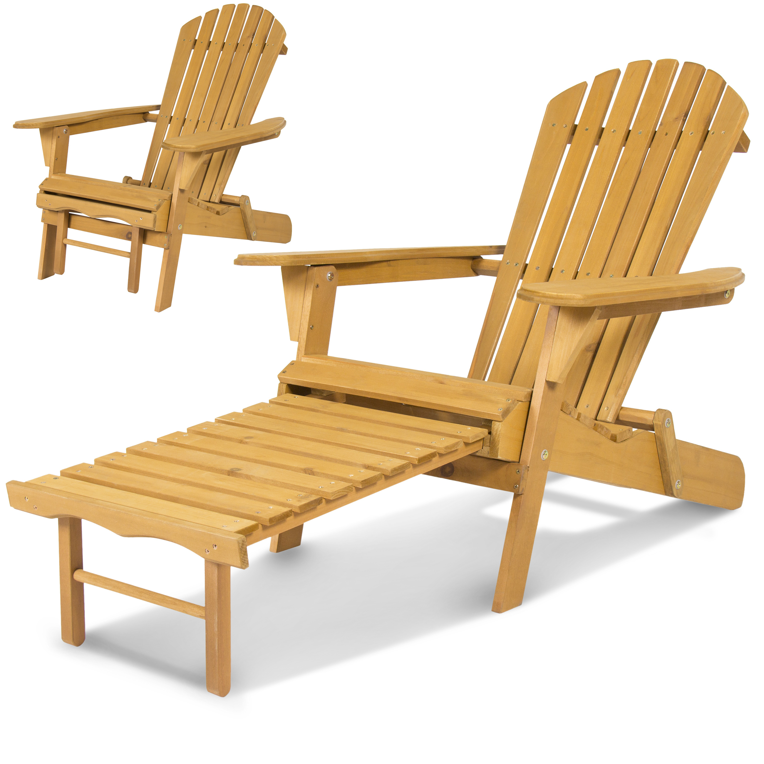 Adirondack Chairs With Footrest With Regard To Well Known Best Choice Products Foldable Wood Adirondack Chair W/ Pull Out Ottoman (View 8 of 25)
