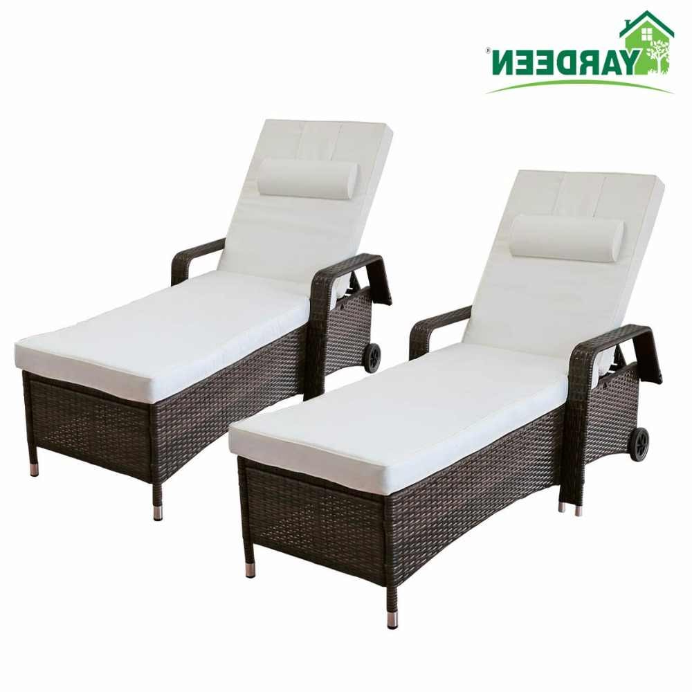 Adjustable Outdoor Wicker Chaise Lounge Chairs With Cushion Pertaining To Most Up To Date Yardeen 2 Pack Patio Chaise Lounge Chair Outdoor Poolside (Gallery 11 of 25)