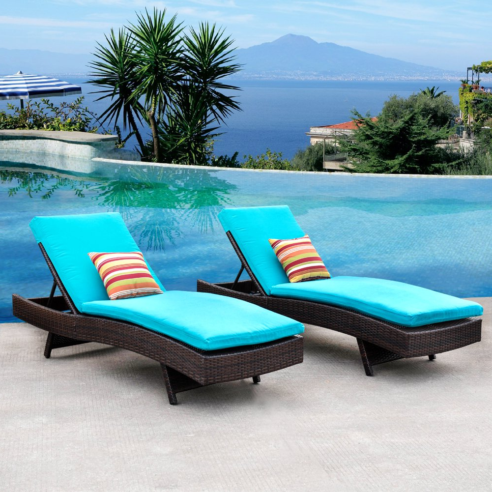 Adjustable Outdoor Wicker Chaise Lounge Chairs With Cushion Within Preferred Buy Sundale Outdoor 2Pcs Deluxe Patio Adjustable Resin (View 8 of 25)