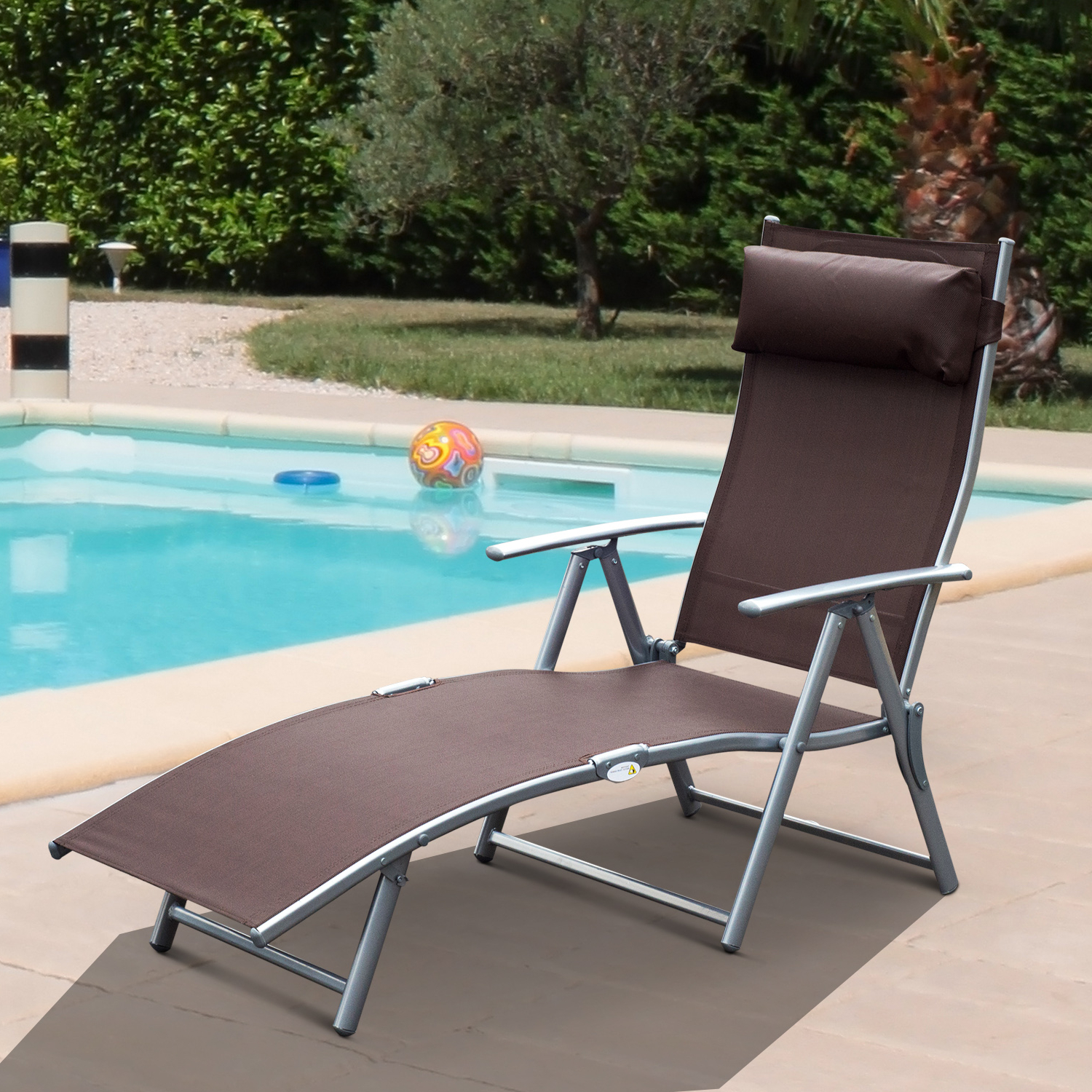 Adjustable Sling Fabric Patio Chaise Lounges In Well Known Details About Chaise Lounge Chair Folding Pool Beach Adjustable Patio  Furniture Recliner Brown (View 3 of 25)