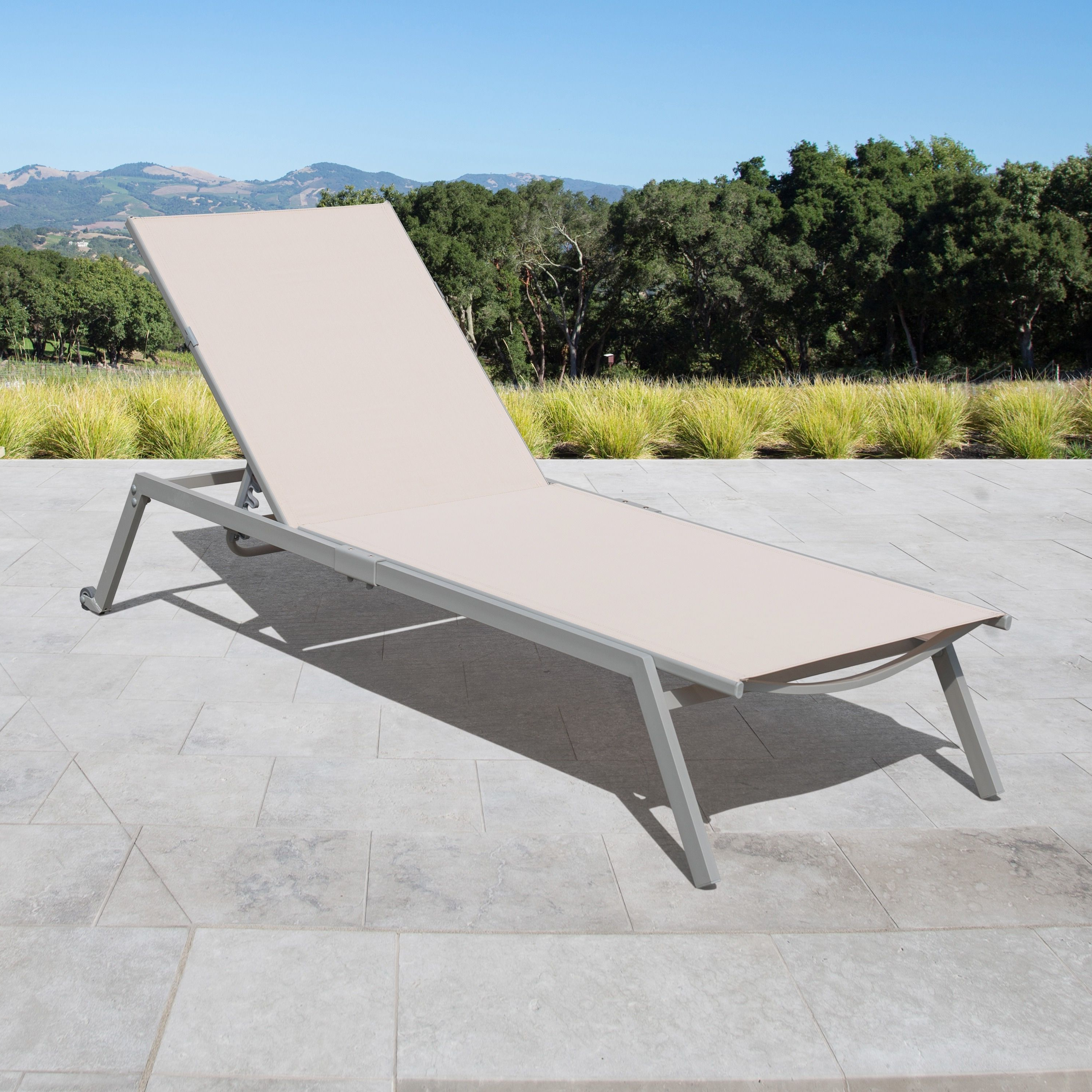 Featured Photo of Adjustable Sling Fabric Patio Chaise Lounges
