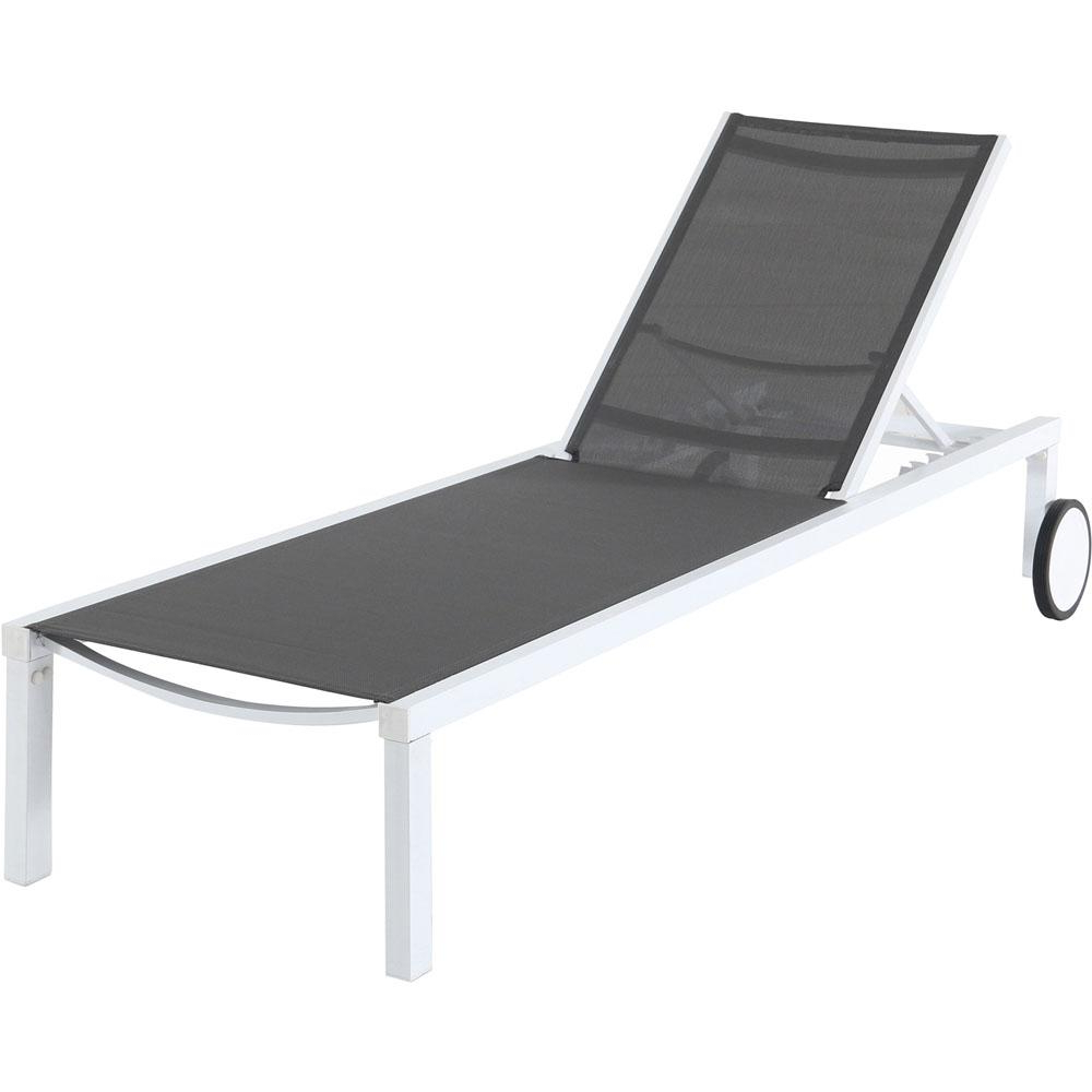 Adjustable Sling Fabric Patio Chaise Lounges Throughout Famous Hanover Windham White Frame Adjustable Sling Outdoor Chaise Lounge In Gray Sling (View 5 of 25)