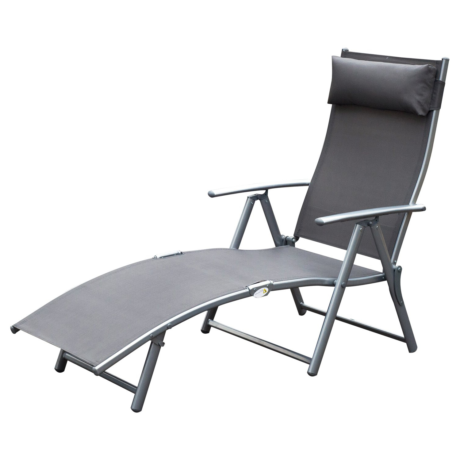 Adjustable Sling Fabric Patio Chaise Lounges Throughout Well Known Aosom: Outsunny Sling Fabric Patio Reclining Chaise Lounge Chair Folding 5 Position Adjustable Outdoor Deck With Cushion – Gray (View 13 of 25)