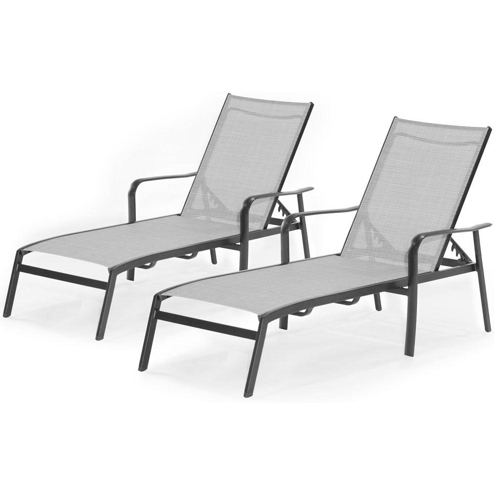 Adjustable Sling Fabric Patio Chaise Lounges Throughout Well Liked Hanover Foxhill 2 Piece All Weather Commercial Rust Free Aluminum Outdoor  Chaise Lounge Chair Set With Sunbrella Sling Fabric (View 11 of 25)
