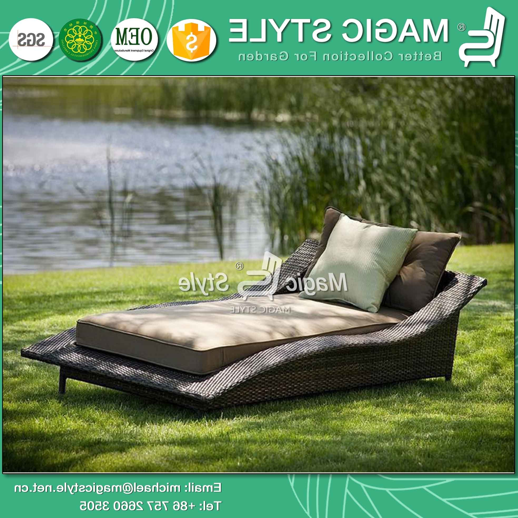All Weather Rattan Wicker Chaise Lounges Inside Preferred China Rattan Wicker Sunlounger Wicker Daybed Double Daybed (View 5 of 25)