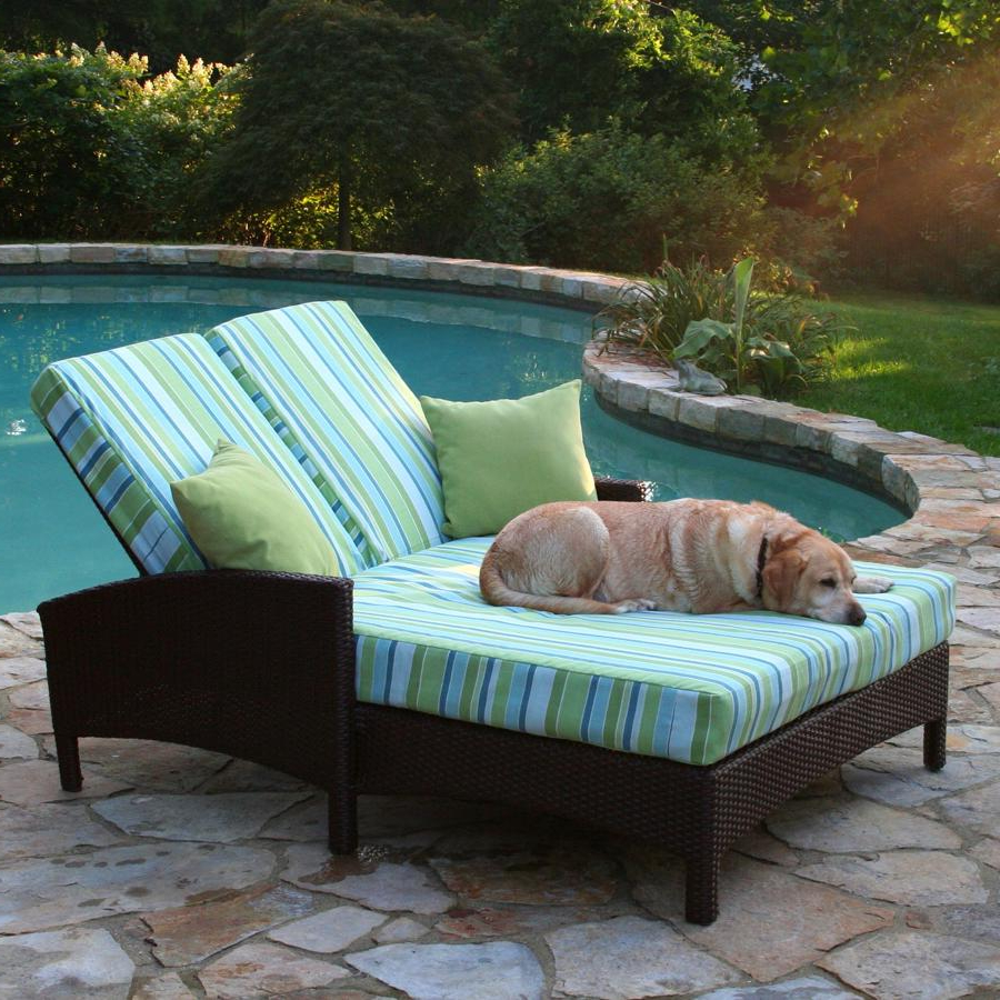 All Weather Rattan Wicker Chaise Lounges Inside Well Liked Adjustable Outdoor Double Chaise Lounge : Outdoor (View 6 of 25)