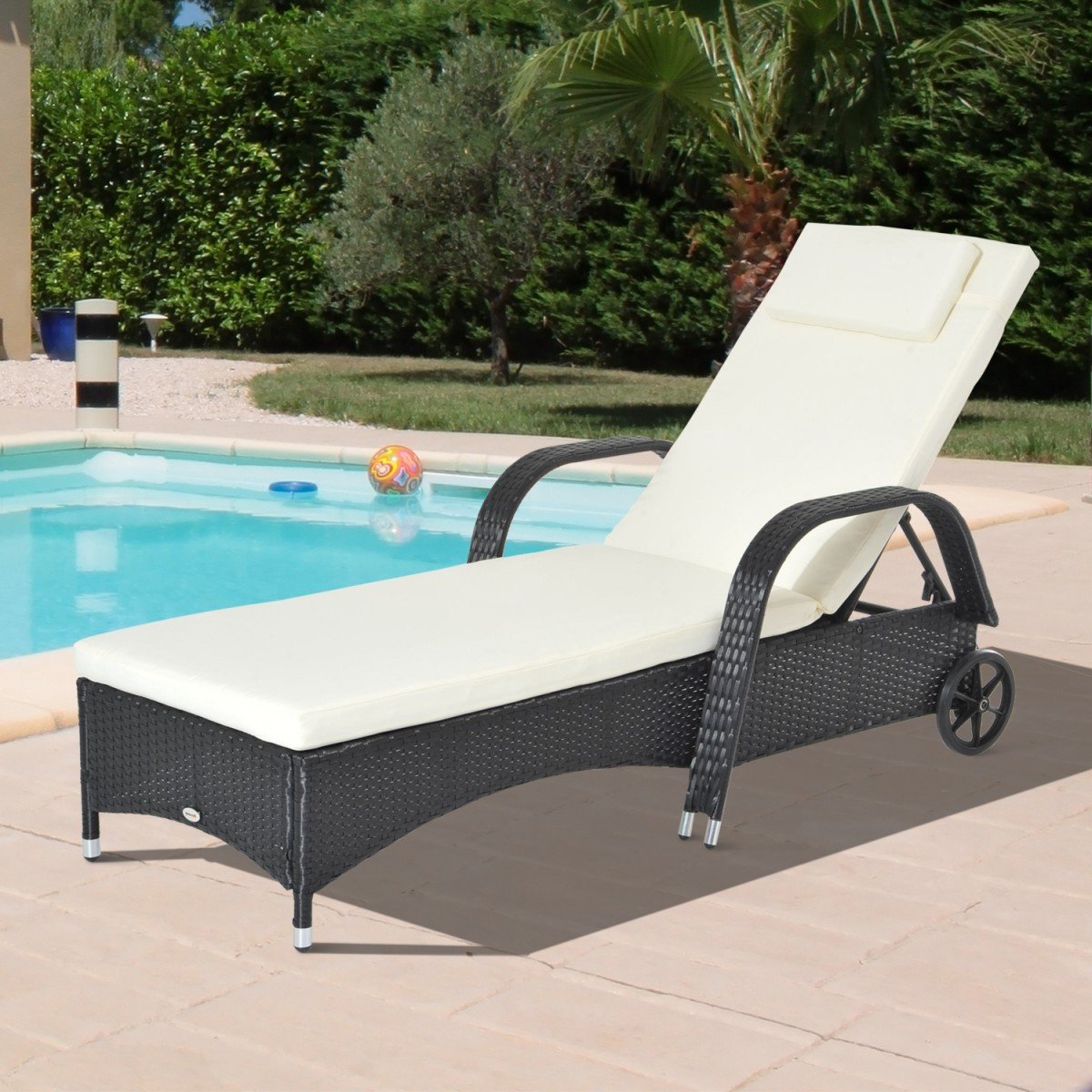 All Weather Single Outdoor Adjustable Loungers Intended For Trendy Outsunny Adjustable Rattan Sun Lounger Chair – Black, Brown Or Grey (View 25 of 25)