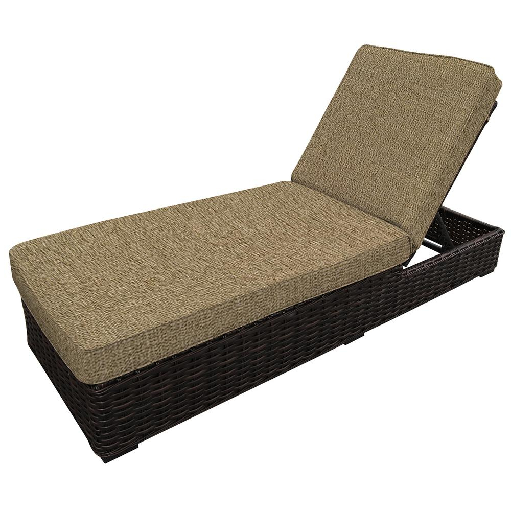 All Weather Single Outdoor Adjustable Loungers With Regard To Best And Newest Envelor Santa Monica Adjustable Wicker Outdoor Chaise Lounge With Sunbrella Sesame Linen Cushions (View 6 of 25)