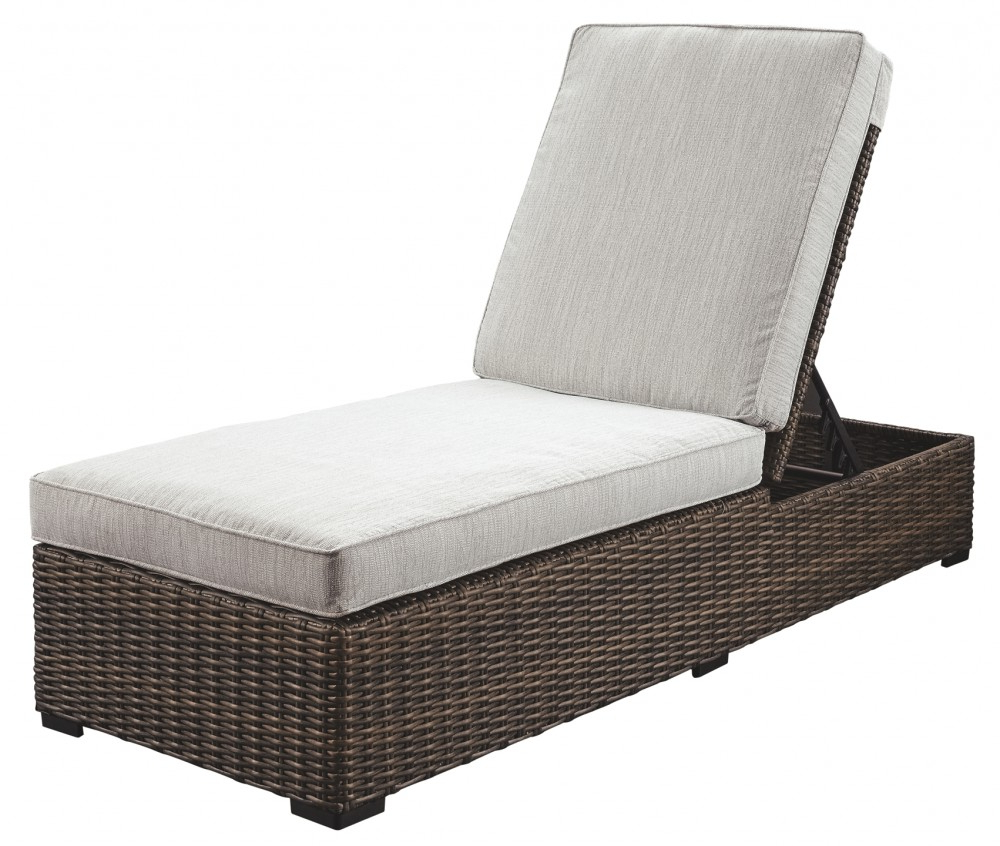 Alta Grande – Beige/brown – Chaise Lounge With Cushion Intended For Favorite Resin Wicker Multi Position Chaises (View 2 of 25)