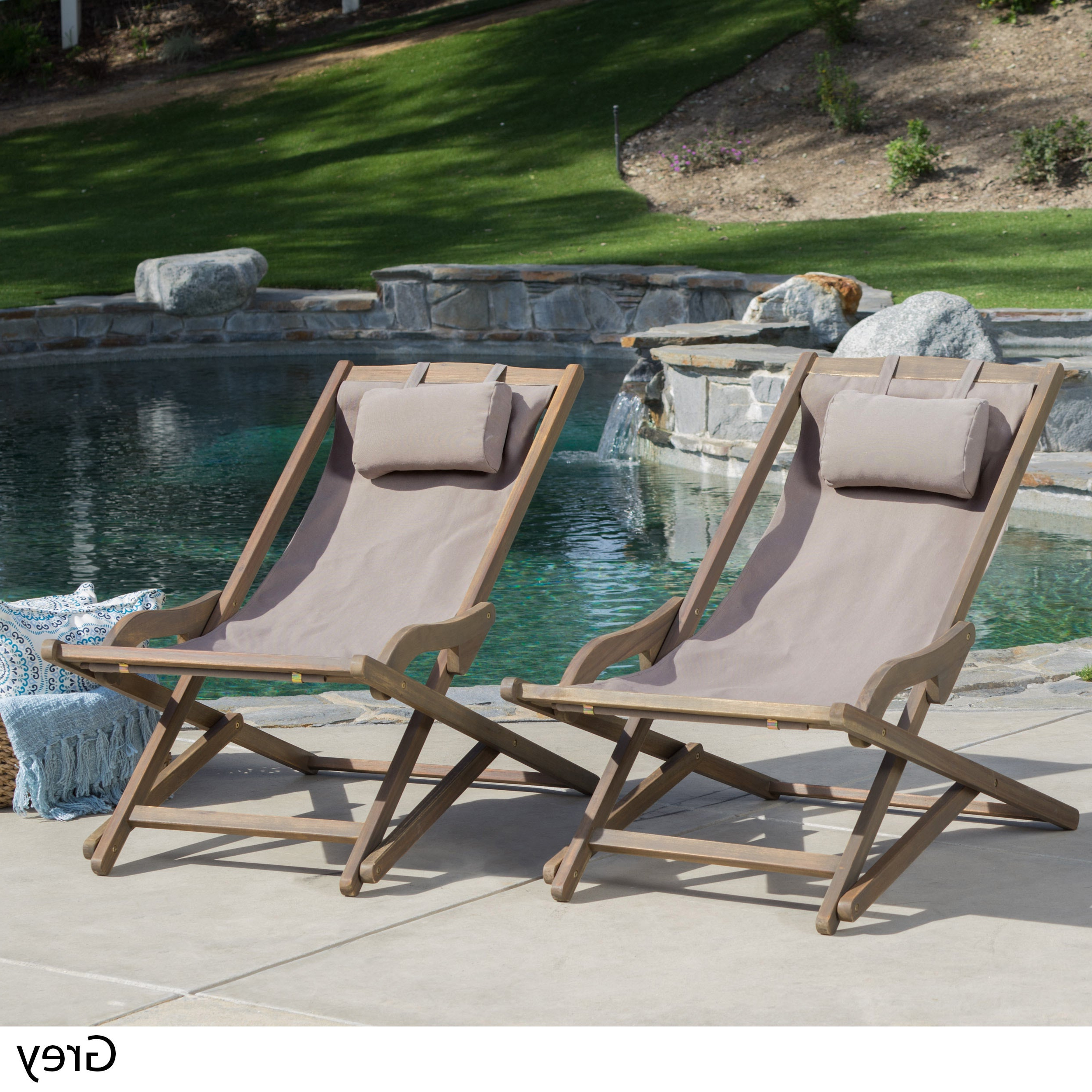 Amazonia Copacabana Wood Swing Chairs With Regard To Favorite Nikki Outdoor Wood Sling Chair (Set Of 2)Christopher Knight Home (View 8 of 25)
