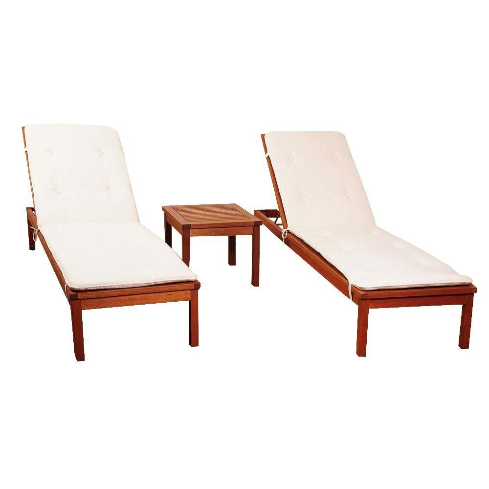 Amazonia Murano 3 Piece Eucalyptus Wheel Patio Lounger Set Within Most Popular Eucalyptus Teak Finish Outdoor Chaise Loungers With Cushion (View 11 of 25)