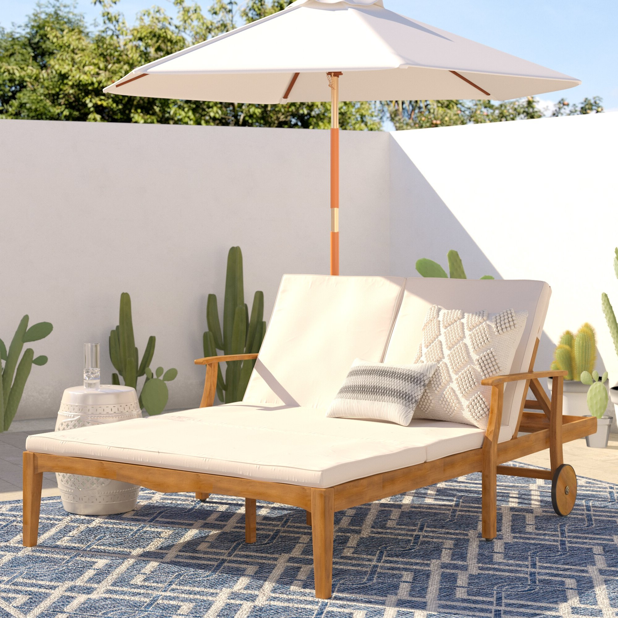 Antonia Double Reclining Teak Chaise Lounge With Cushion Regarding Most Popular Double Reclining Lounge Chairs With Canopy (View 16 of 25)