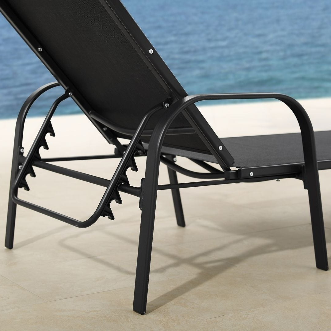 Antonio Sling Fabric Adjustable Outdoor Chaise Lounges For 2020 Corvus Antonio Outdoor Black Sling Fabric Adjustable Chaise Lounge (View 16 of 25)