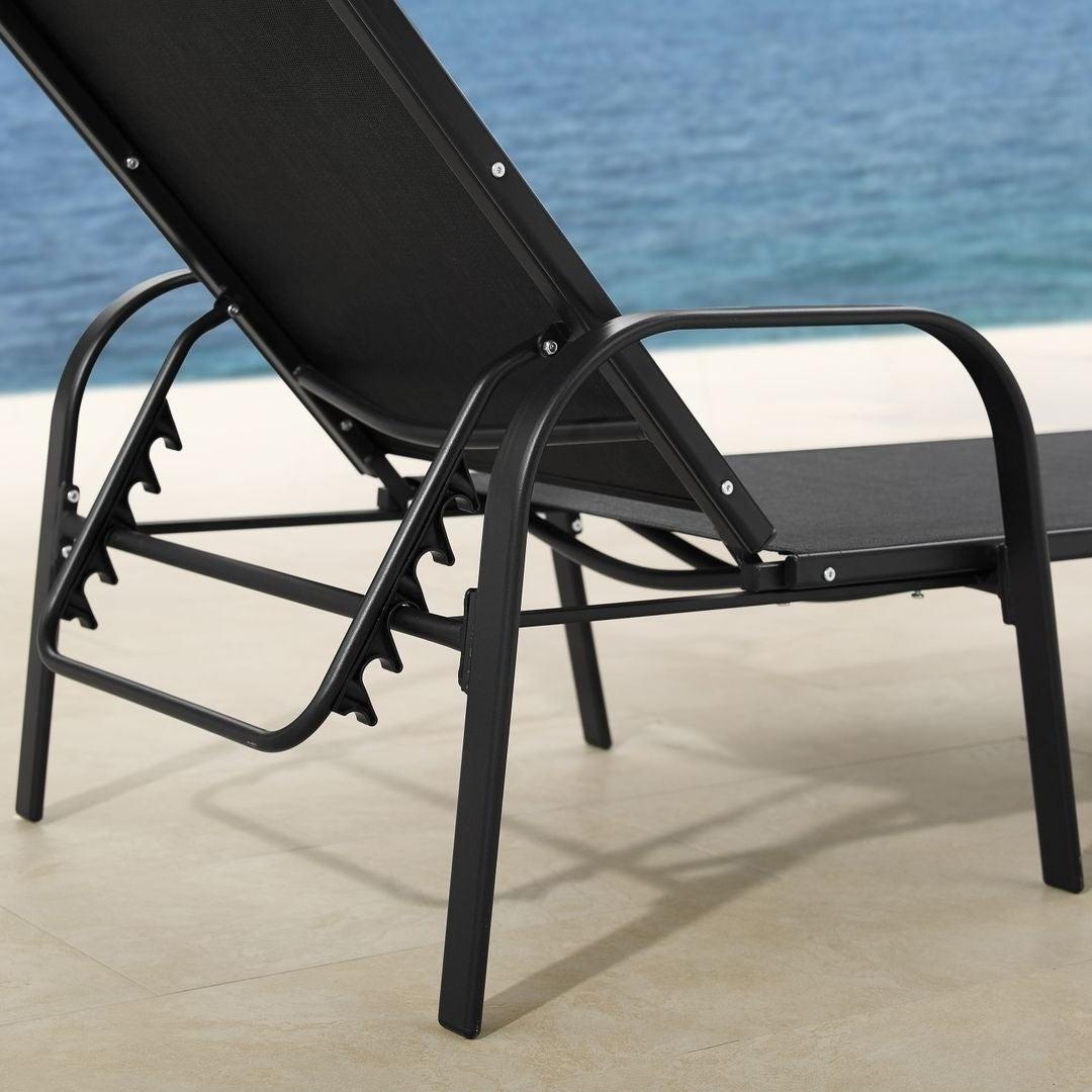 Antonio Sling Fabric Adjustable Outdoor Chaise Lounges For 2020 Corvus Antonio Outdoor Black Sling Fabric Adjustable Chaise Lounge (View 1 of 25)