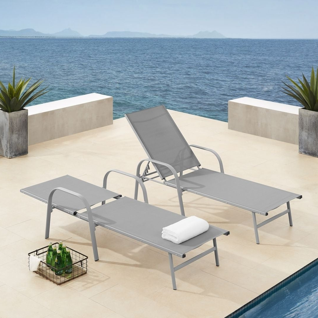 Antonio Sling Fabric Adjustable Outdoor Chaise Lounges Intended For Recent Corvus Antonio Sling Fabric Adjustable Outdoor Chaise Lounge (Gallery 5 of 25)
