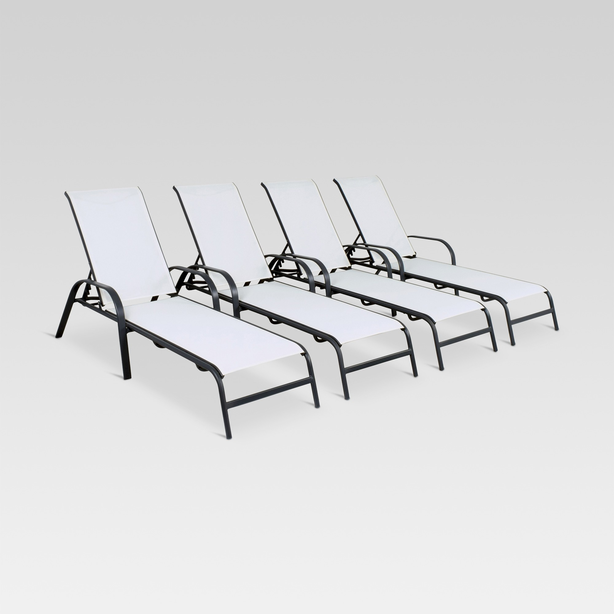 Antonio Sling Fabric Adjustable Outdoor Chaise Lounges Throughout Well Known 4Pk Stack Sling Patio Lounge Chair – Tan – Threshold (View 6 of 25)