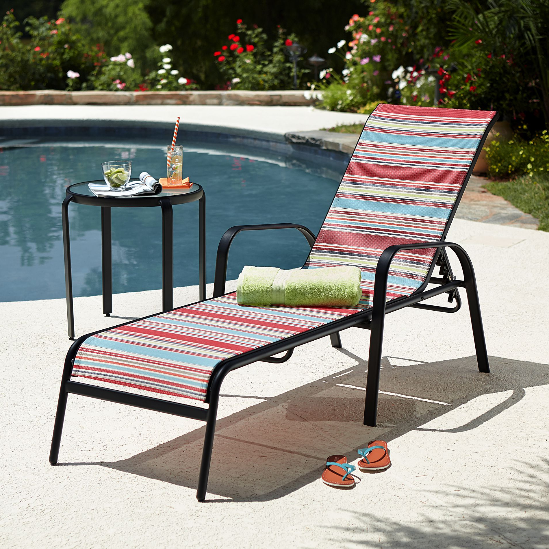 Antonio Sling Fabric Adjustable Outdoor Chaise Lounges With Regard To Well Liked Essential Garden Bartlett Stacking Lounge  Mult Stripe (View 7 of 25)