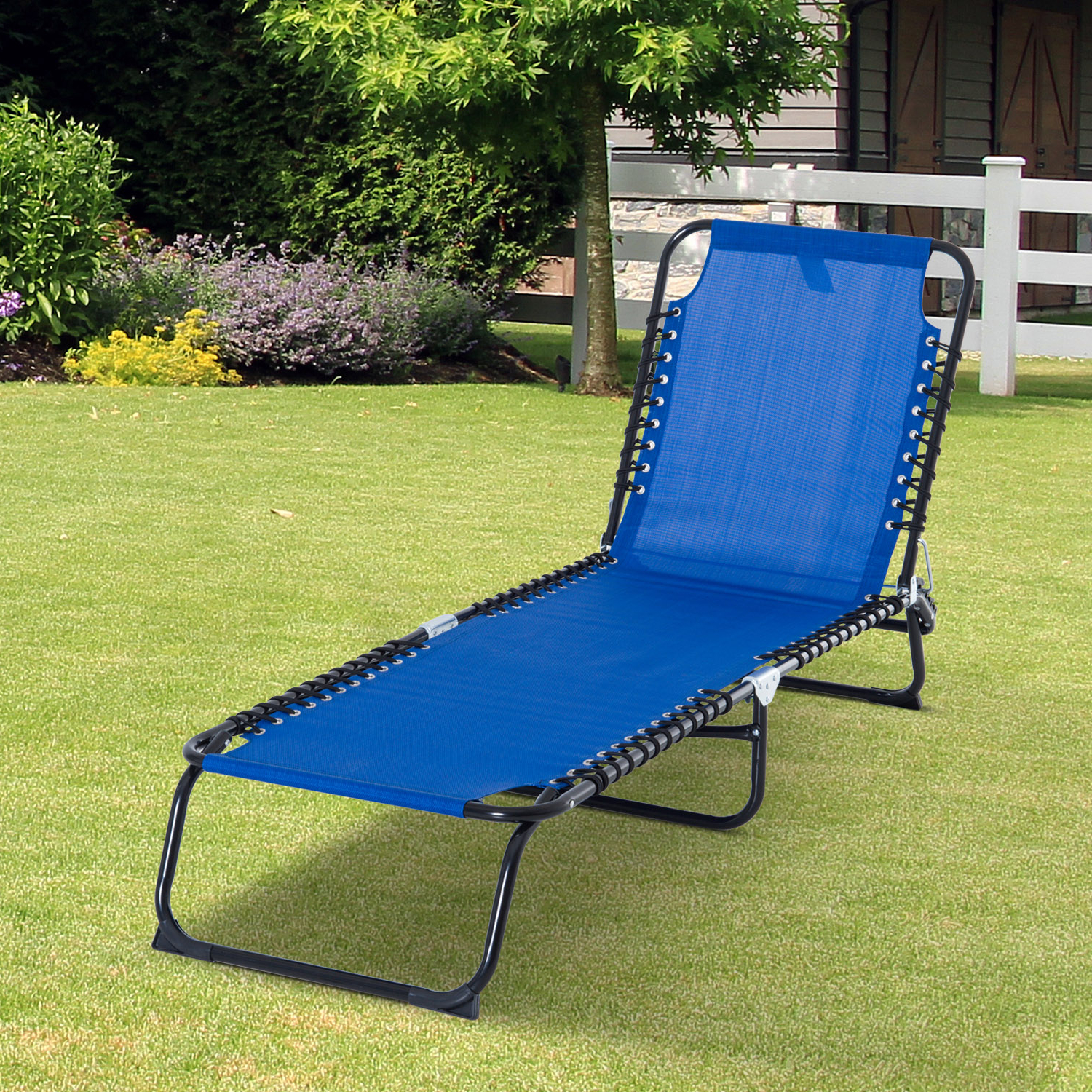 Aosom: Outsunny 3 Position Portable Reclining Beach Chaise Lounge Folding Chair Outdoor Patio – Dark Blue (View 18 of 25)